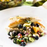 Herb Grilled Capon, Blueberry Salsa
