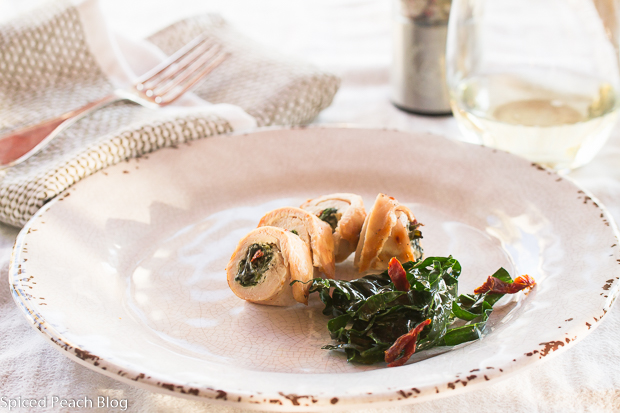 Grilled Chicken Pinwheels, kale, cream cheese, sundried tomatoes