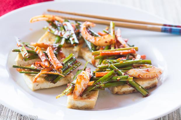 Two Korean Tofu Dishes, Dubu-buchim, Chives & Dububuchim- yangnyeomjang