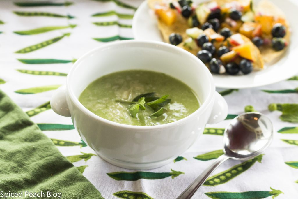 Summer green pea and mint soup