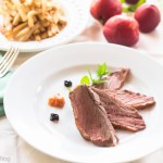 Magret Duck Breast, brandied peaches and cherries sauces