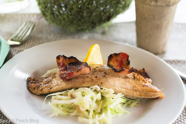 Glazed Rainbow Trout with Bacon