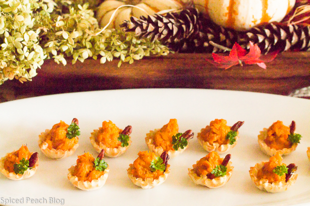 Phyllo Shells with Mashed Sweet Potatoes and candied pecans