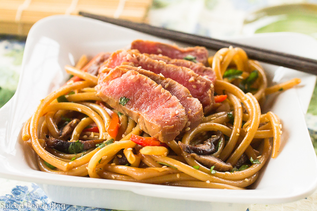 Asian Style Grilled Tuna with Noodles