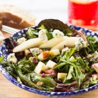 Fall Green Salad with Fruits, Walnuts, Blue Cheese