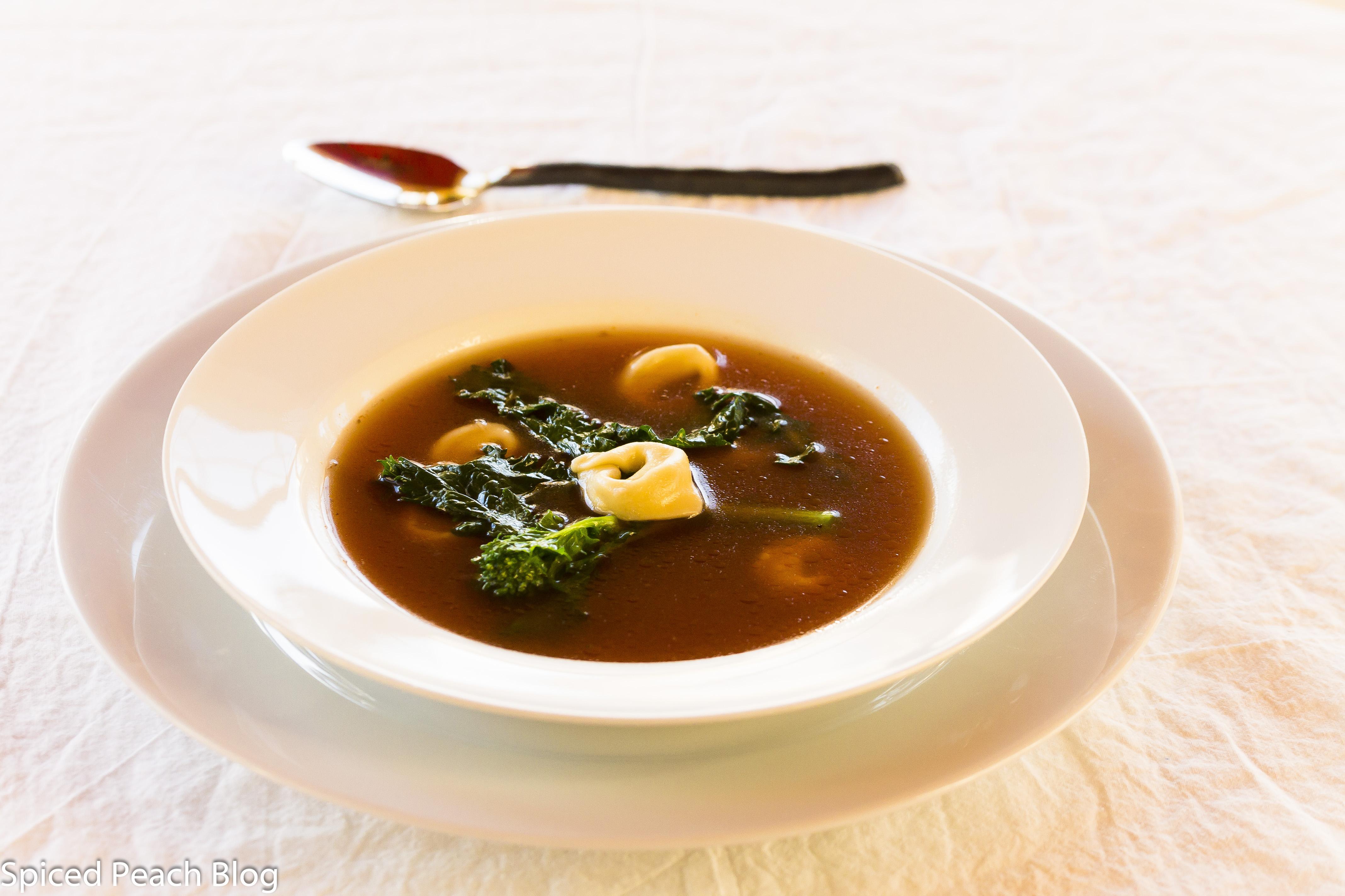 """Brodo"" Grass Fed Beef Broth, Tortellini, Broccoli Rabe"