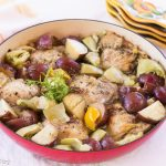 One-Skillet Rosemary Chicken Thighs, Potatoes, Artichokes