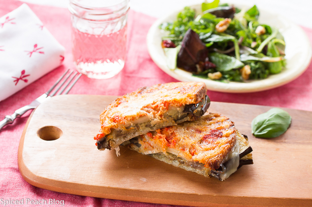 Eggplant Panini on Sourdough with Roasted Red Pepper, Garlic & Provolone