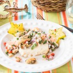 Rockfish with Mussels, Shrimp, & Star Fruit Salsa