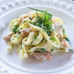 Smoked Wild Alaskan Salmon with Fettuccine in Scotch Cream Sauce