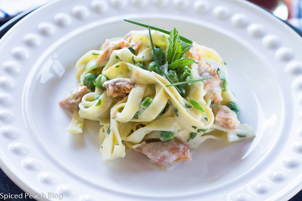 Smoked Wild Alaskan Salmon with Fettucine in Scotch Cream Sauce