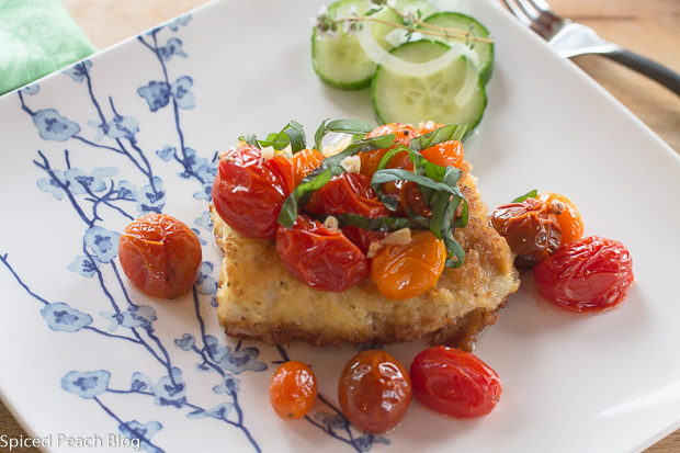 Crisp Coated Wild Alaskan Cod with Garlic Roasted Cherry Tomato Medley