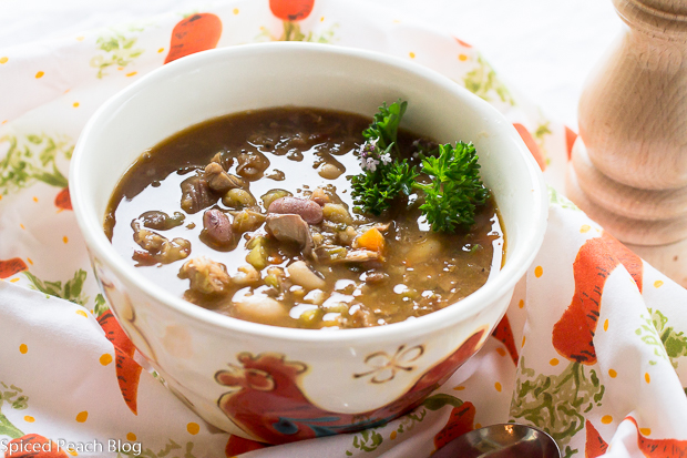 16 Bean Soup using saved pork juices