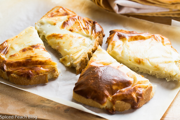 Cheesy Bread, open face toasted bread with melted cheese