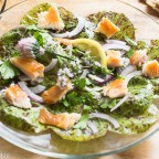 Heirloom German Speckled Trout Lettuce, Smoked Trout, Lemon Poppy Seed Dressing