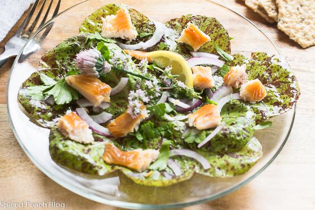 Heirloom German Speckled Trout Lettuce, Smoked Trout, Lemon Poppy Seed Dressing