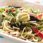 Fettuccine with Raosted Peppers, Artichokes, Eggplant Roasted Garlic Dressing