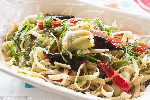Pasta Salad, Eggplant, Peppers, Artichokes, Roasted Garlic Dressing