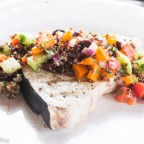 Grilled Swordfish, Red Quinoa, Green Tomato, Peppers, Black Bean Salsa