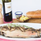 Fresh Caught Grilled Trout, Mushroom Wine Sauce