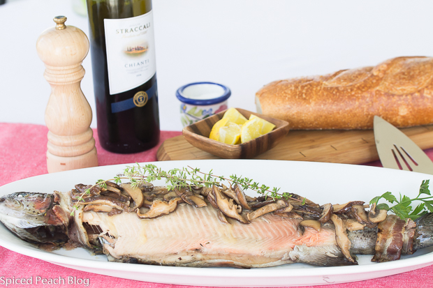 Grilled Trout Mushroom Wine Sauce