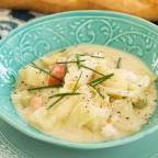 Sea Bass, Garden Potatoes and Leek Stew