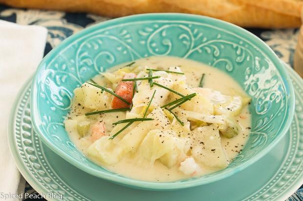 Sea Bass, Garden Potatoes and Leek Soup