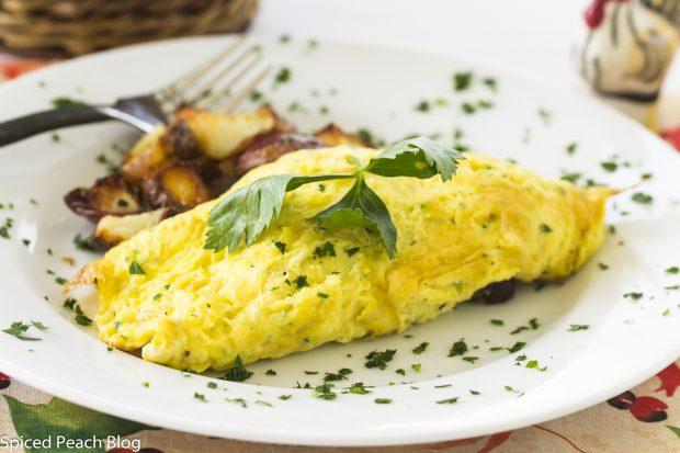 Kale, Mushroom, Goat Cheese Omelet