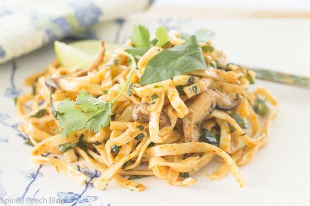 Easy Curried Noodles, Fresh Green Herbs