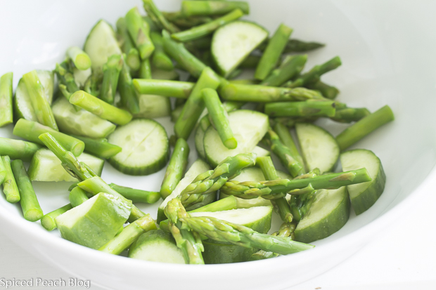 Blanched Asparagus Pieces with half moon seedless cucumber slices