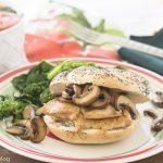 Chicken, Mushrooms with Marsala Sauce on Poppyseed Roll