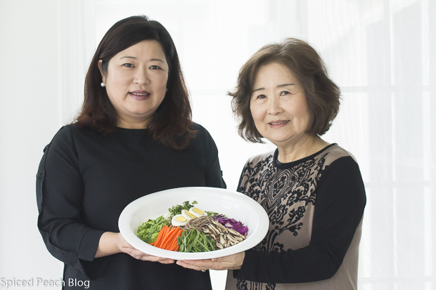 Anne and Mom displaying Korean Buckwheat Noodle Salad