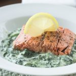 Wild Alaskan Sockeye Salmon on Creamed Spinach
