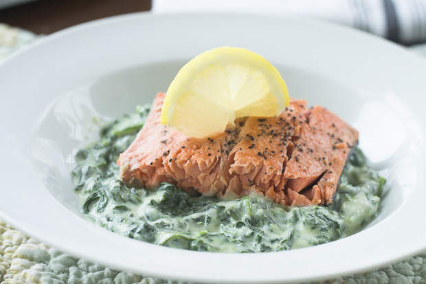 Wild Alaskan Sockeye Salmon on Creamed Spinach