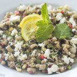 wild rice and black eyed pea salad, coconut honey dressing