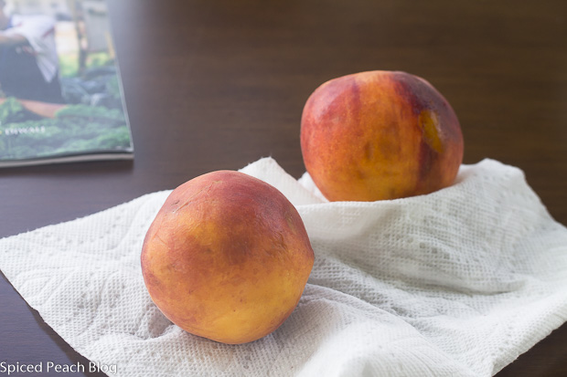 2 ripe yelloe peaches