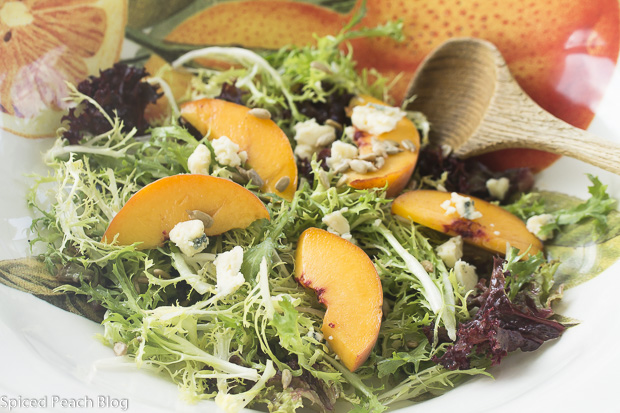Yellow Peaches, Dijon Dressed Baby Frisee, Blue Cheese, Sunflower Seeds