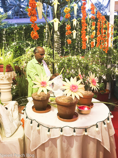 gentleman creates Sangeeth decorations out of local palm Kerala