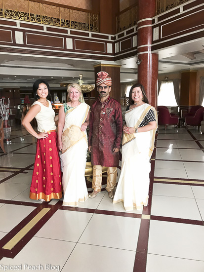 Dressed in Saris in lobby at Joy's Palace