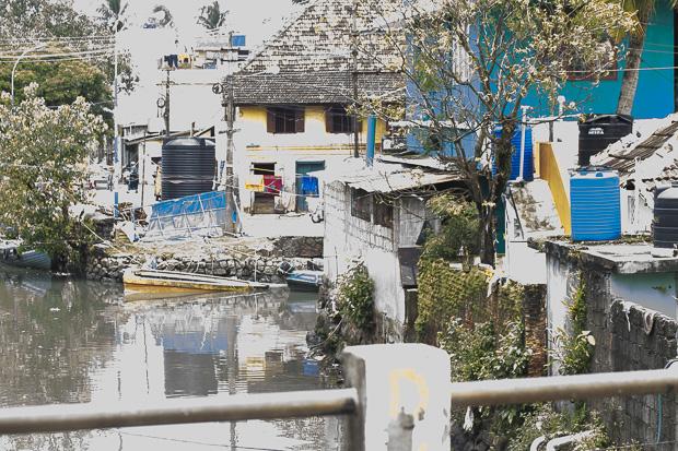 waterway along a street in Kerala