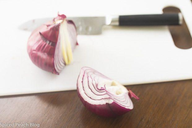 halved red onion