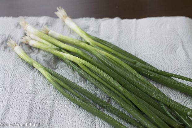 bunch of washed scallions