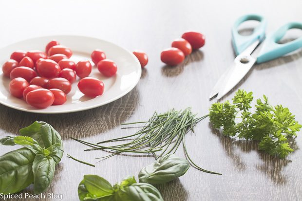 cherry tomatoes basil and parsley