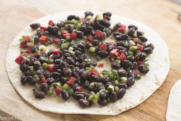 Black Bean Mixture on Tortilla