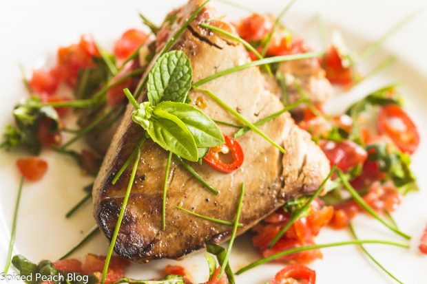 Tuna Steak, Tomatoes with Fresh Herbs