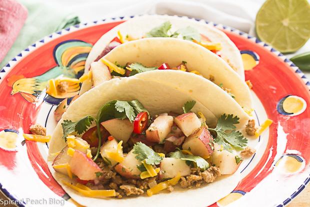 Ground Turkey Tacos with White Peach Salsa