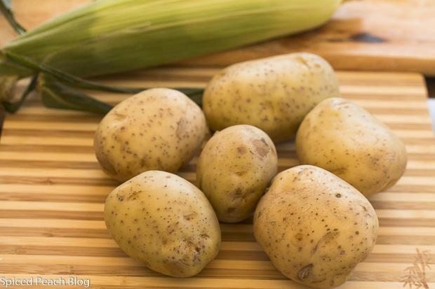 potatoes and corn on the cob