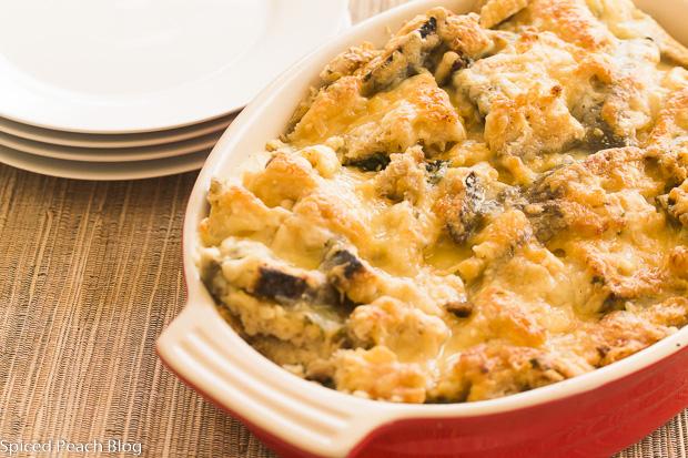 Kale and Mushroom Bread Pudding