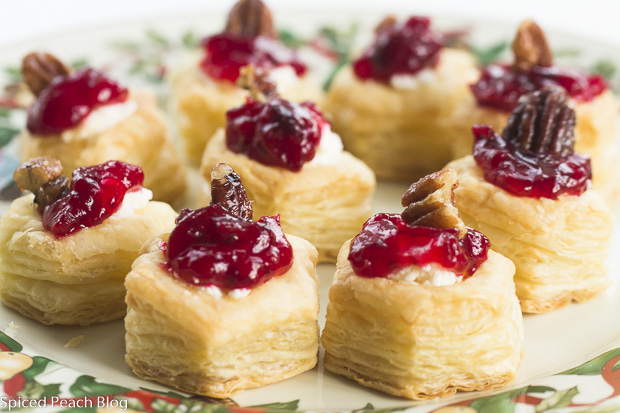 Goat Cheese, Cranberry Sauce and Candied Pecans in Puff Pastry Cups