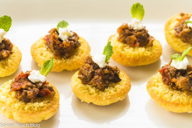 Spiced Eggplant and Yogurt on Corn Muffin Tops